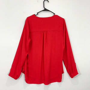 Pleione Tops - Pleione Red Pocket Front Blouse V Neck Long Sleeve